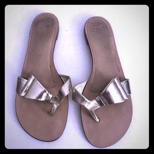 Giuseppe Zanotti gold leather flip flops